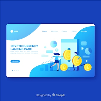 Modèle de page de destination du concept de crypto-monnaie