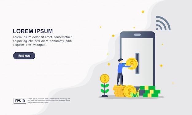 Modèle de page de destination du concept de design plat moderne de services bancaires en ligne