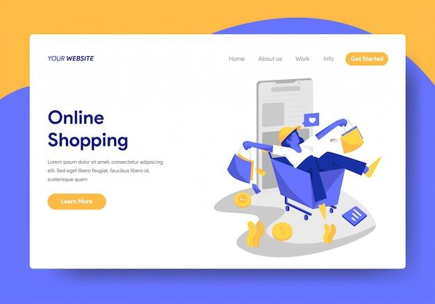 Modèle de page de destination du concept de magasinage en ligne