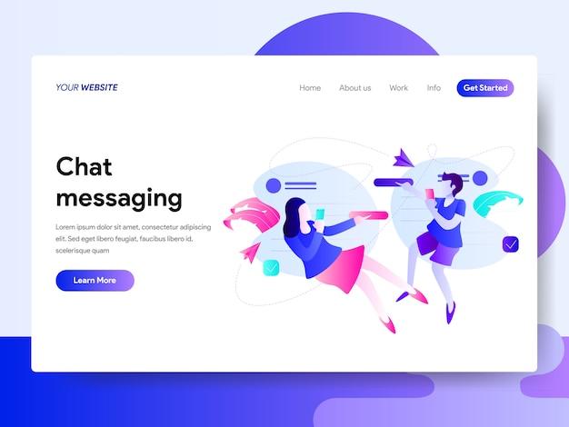 Modèle de page de destination du concept de messagerie instantanée