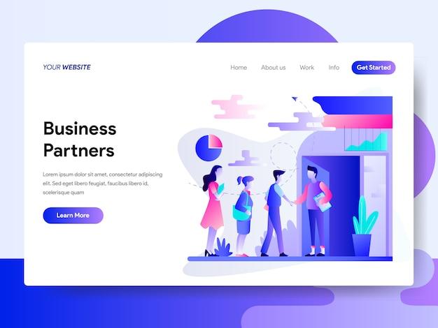 Modèle de page de destination du concept de partenaires commerciaux