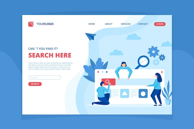 Modèle de page de destination du concept de recherche