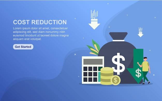 Modèle de page de destination du concept de réduction des coûts.