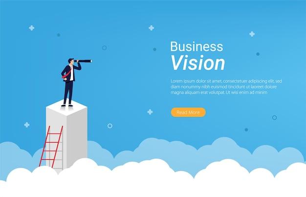 Modèle de page de destination du concept de vision d'entreprise.