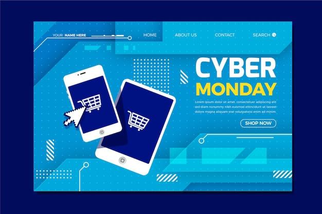 Modèle de page de destination du cyber lundi à plat