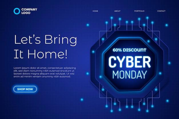 Modèle de page de destination du cyber lundi réaliste