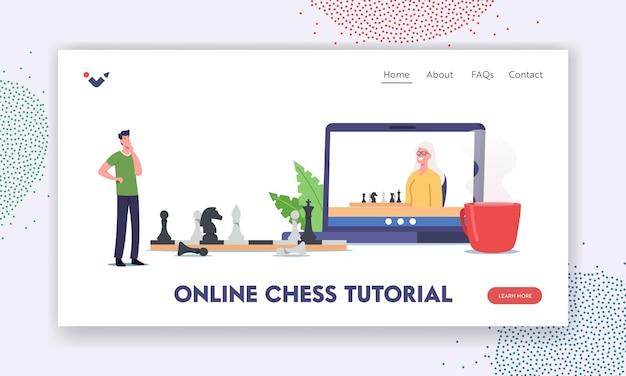 Modèle de page de destination du didacticiel d'échecs en ligne. personnages jouant aux échecs. homme pensant à un énorme échiquier avec des chiffres, amusement de temps libre, jeu de logique, loisirs. illustration vectorielle de gens de dessin animé