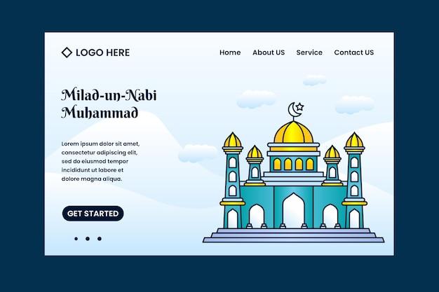 Modèle de page de destination du festival milad un nabi mubarak avec fond de mosquée