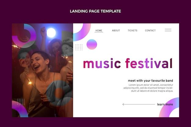 Modèle de page de destination du festival de musique dégradé