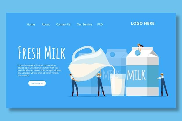 Modèle de page de destination du lait