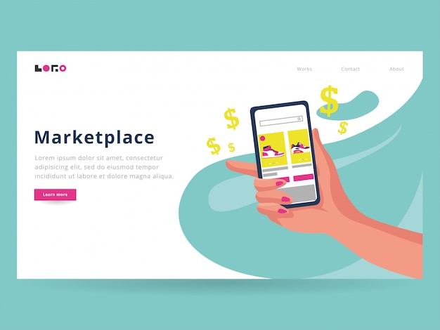 Modèle de page de destination du marché