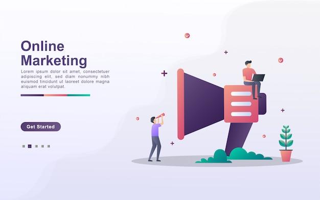 Modèle de page de destination du marketing en ligne dans le style d'effet dégradé