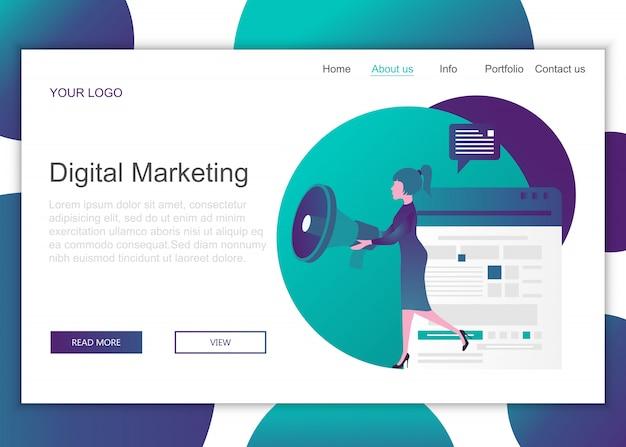 Modèle de page de destination du marketing numérique