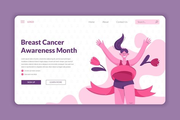 Modèle de page de destination du mois de sensibilisation au cancer du sein dessiné à la main