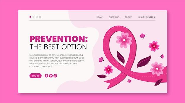 Modèle de page de destination du mois de sensibilisation au cancer du sein plat dessiné à la main