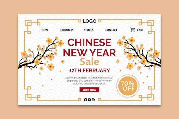 Modèle de page de destination du nouvel an chinois