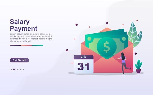 Modèle de page de destination du paiement du salaire