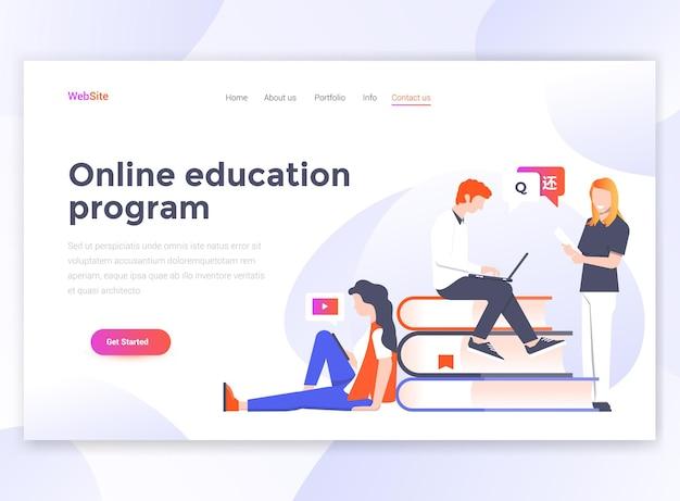 Modèle de page de destination du programme d'éducation en ligne.