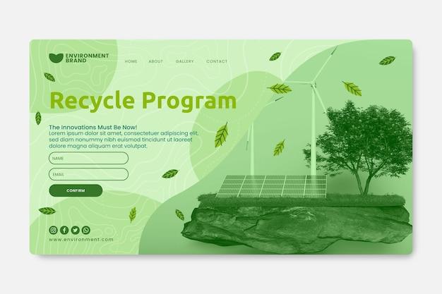 Modèle de page de destination du programme de recyclage