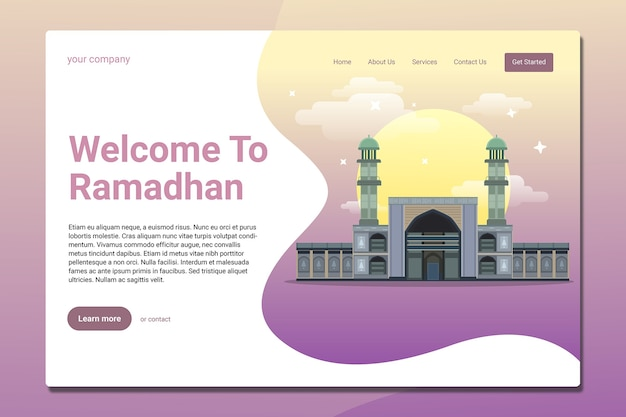 Modèle de page de destination du ramadhan