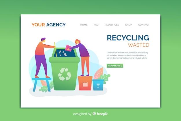 Modèle de page de destination du recyclage