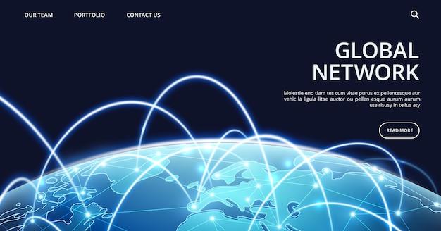 Modèle de page de destination du réseau mondial