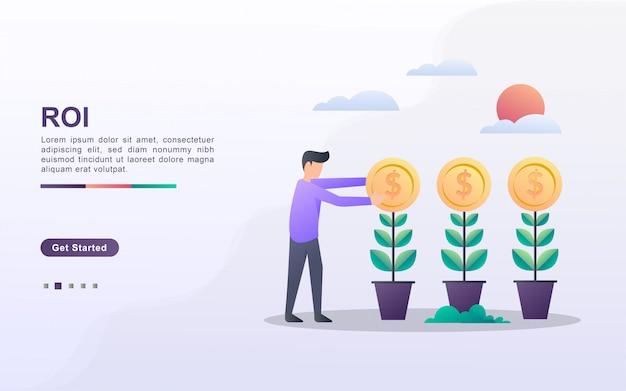 Modèle de page de destination du retour sur investissement dans le style d'effet dégradé