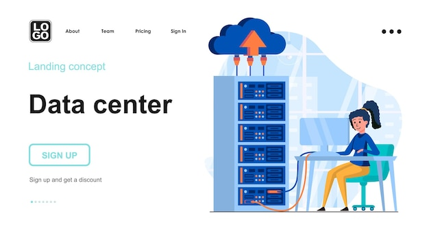 Modèle de page de destination du serveur de données avec personnage