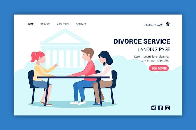 Modèle de page de destination du service d'avocat en divorce