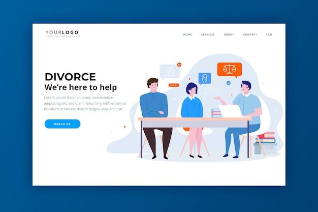 Modèle De Page De Destination Du Service D'avocat En Divorce Vecteur gratuit