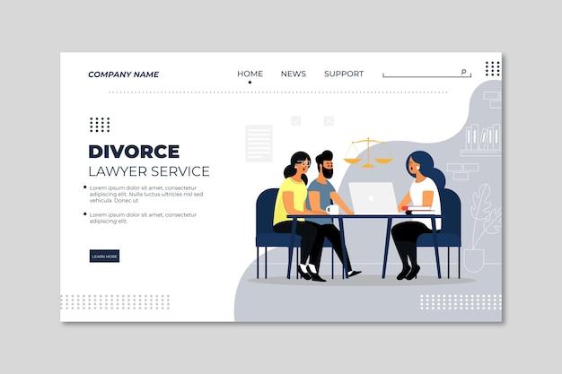 Modèle de page de destination du service d'avocat de divorce
