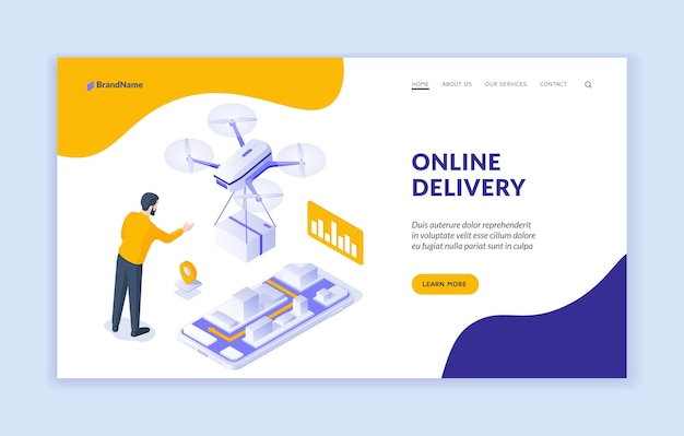 Modèle de page de destination du service de livraison en ligne