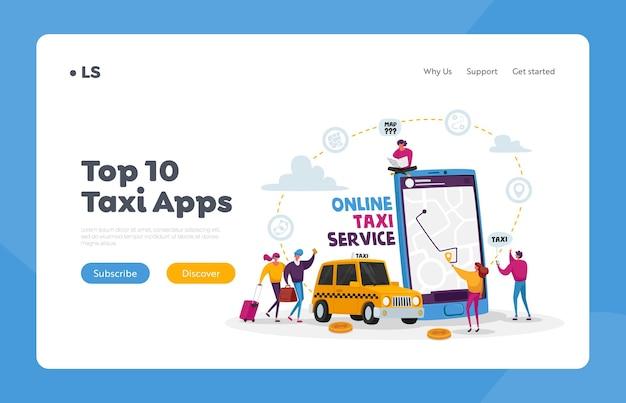 Modèle de page de destination du service de taxi. caractères commandant une voiture de taxi à l'aide de l'application