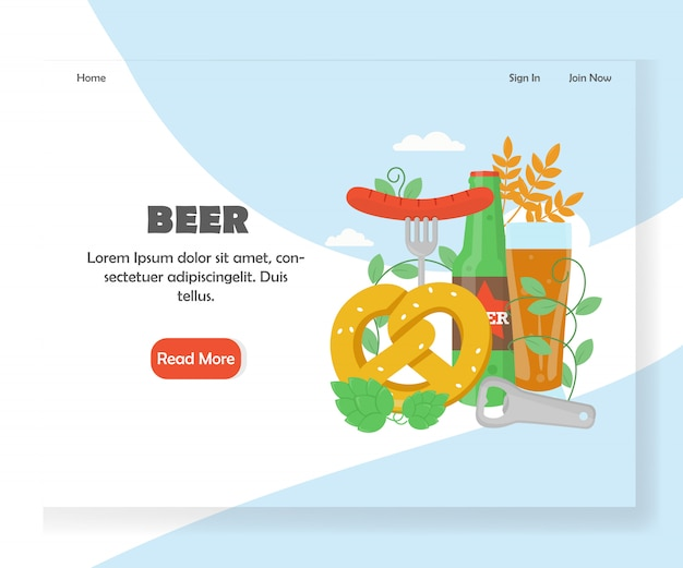 Modèle De Page De Destination Du Site Web Du Festival De La Bière Vecteur Premium