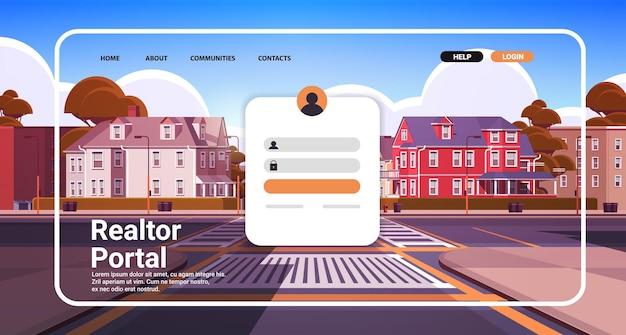 Modèle de page de destination du site web du portail de l'agent immobilier loyer de la propriété à vendre