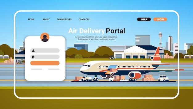 Modèle de page de destination du site web du portail de livraison aérienne concept de commande en ligne de transport logistique mondial