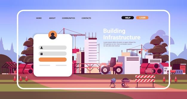 Modèle de page de destination du site web de l'infrastructure du bâtiment en ligne avec illustration vectorielle de l'espace de copie horizontale du site de construction