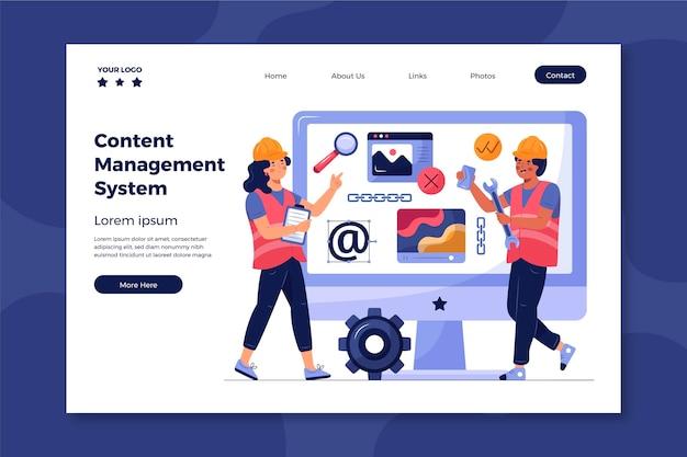 Modèle de page de destination du système de gestion de contenu illustré