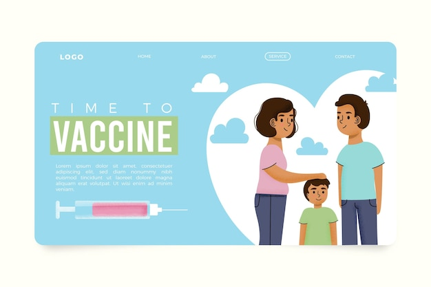 Modèle de page de destination du vaccin contre le coronavirus dessiné à la main