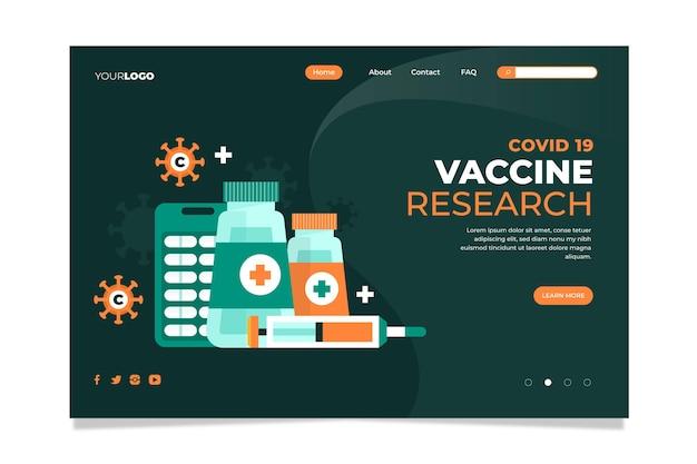 Modèle de page de destination du vaccin contre le coronavirus illustré