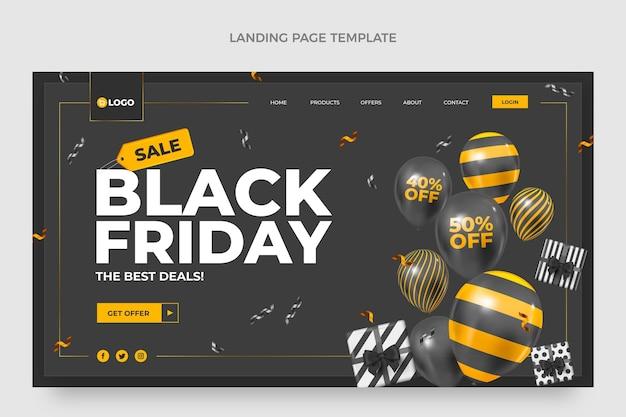 Modèle de page de destination du vendredi noir réaliste avec des ballons noirs et or