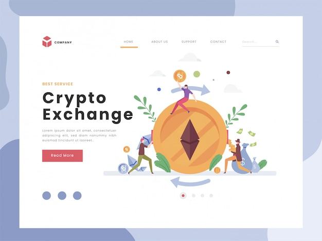 Modèle de page de destination d'échange crypto