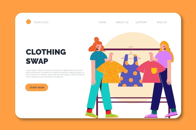 Modèle de page de destination d'échange de vêtements entre personnes