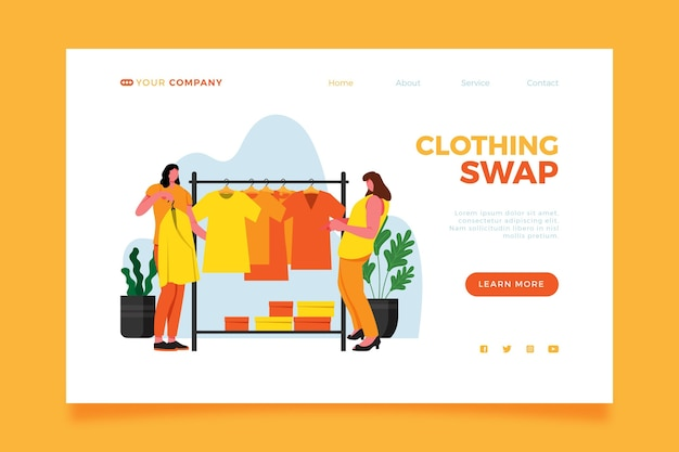 Modèle de page de destination d'échange de vêtements