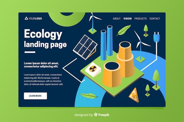 Modèle de page de destination d'écologie isométrique