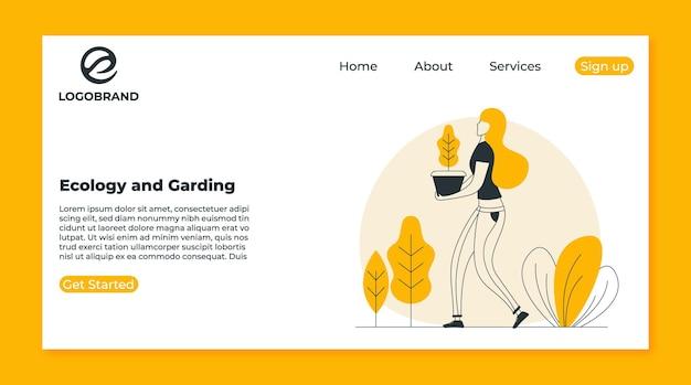 Modèle de page de destination écologie et jardinage