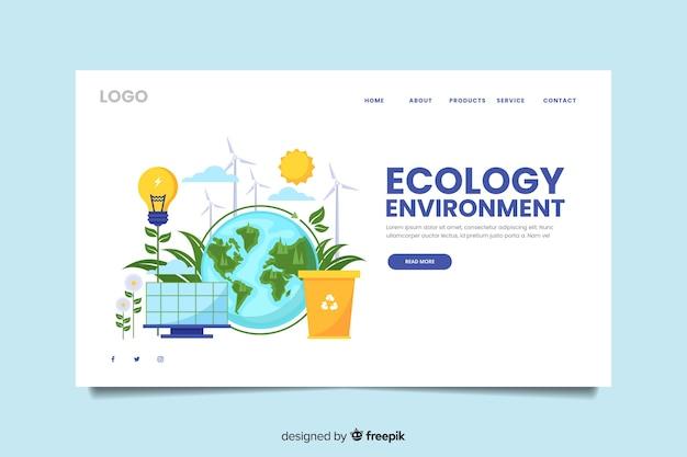 Modèle de page de destination d'écologie plate
