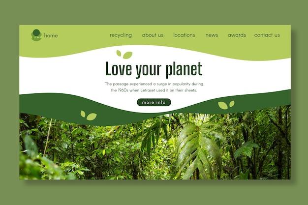 Modèle de page de destination écologique