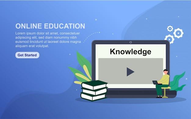 Modèle de page de destination de l'éducation en ligne.