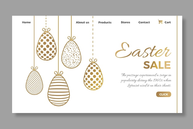 Modèle de page de destination élégant pour la vente de pâques